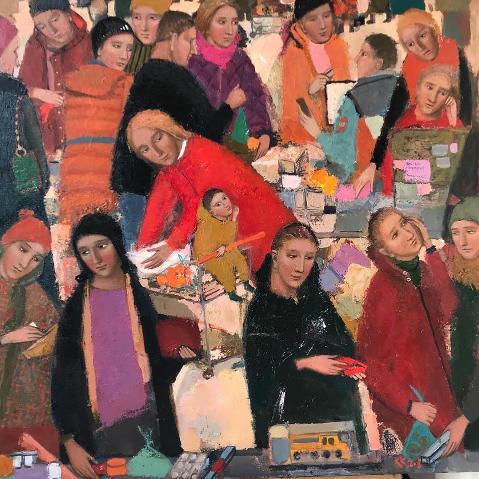 Christmas sale, 2018, oil canvas, 100x100 cm