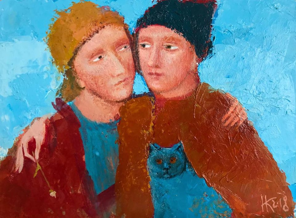 Cat's friends, 2018,acrylic, 15x20 cm