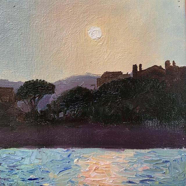 Sunset, 2018, захід сонця canvas oil, 20x20 cm с