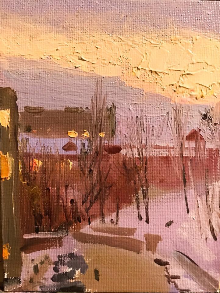 Kyiv, winter, 2019, canvas board oil, 18х14 сm