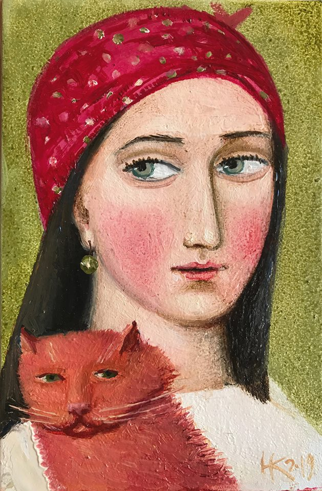 Red cat, рудий кіт 2019, canvas oil, 15x10 cm